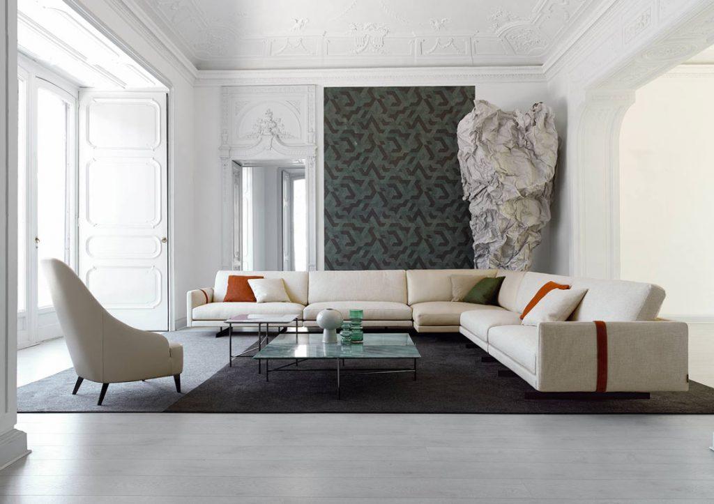 BertO Salotti米色沙发和扶手椅