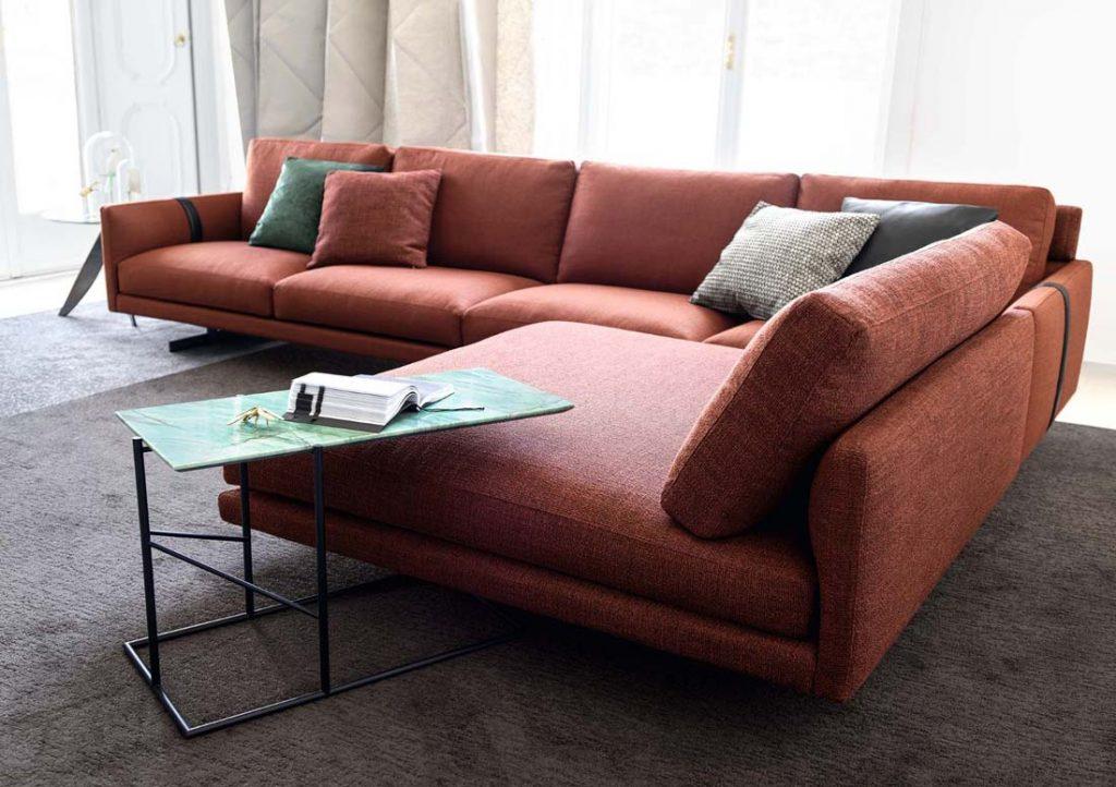 Dee Dee锈红色转角沙发和King咖啡小茶几